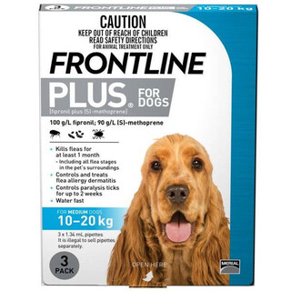 Frontline Plus for Medium Dogs 10-20kg (Blue)[Size:6 Pack]