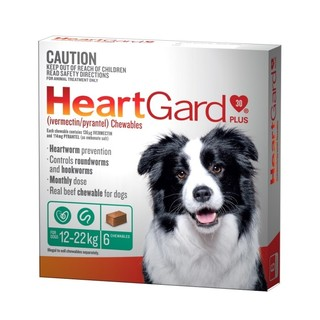Heartgard 30 Plus Chews for Medium Dogs 12-22kg (Green)[Size:12 Pack]