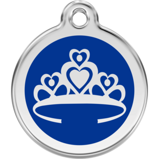 Red Dingo Enamel Crown Tag Dark Blue  - Lifetime Guarantee - Cat, Dog, Pet ID Tag Engraved
