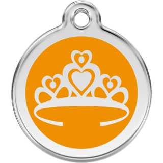 Red Dingo Enamel Crown Tag Orange  - Lifetime Guarantee - Cat, Dog, Pet ID Tag Engraved