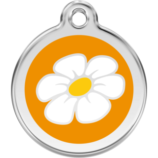 Red Dingo Enamel Daisy Tag - Orange  - Lifetime Guarantee - Cat, Dog, Pet ID Tag Engraved