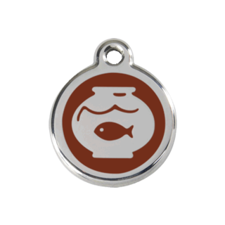 Red Dingo Fish Bowl Tag - Brown [Size: Small]  - Lifetime Guarantee - Cat, Dog, Pet ID Tag Engraved