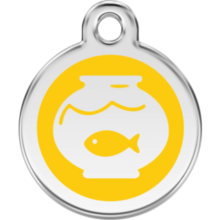 Red Dingo Enamel Fish Bowl Tag - Yellow  - Lifetime Guarantee - Cat, Dog, Pet ID Tag Engraved