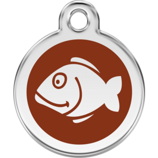Red Dingo Enamel Fish Tag - Brown - Lifetime Guarantee - Cat, Dog, Pet ID Tag Engraved