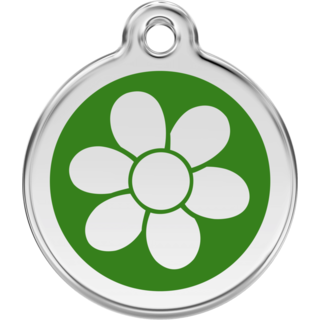 Red Dingo Flower Green Tag - Lifetime Guarantee [size: Large] - Cat, Dog, Pet ID Tag Engraved