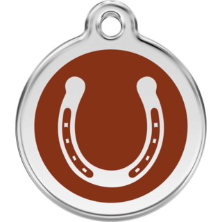 Red Dingo Horse Shoe Brown Tag - Lifetime Guarantee - Cat, Dog, Pet ID Tag Engraved