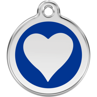 Red Dingo Enamel Dark Blue Heart Tag  - Lifetime Guarantee - Cat, Dog, Pet ID Tag Engraved