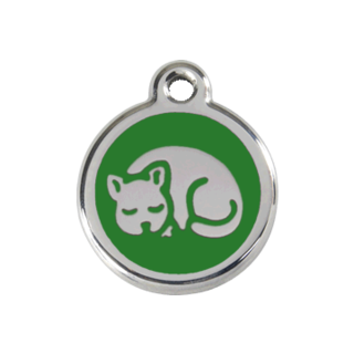 Red Dingo Kitten Tag - Green [Size: Small]  - Lifetime Guarantee - Cat, Dog, Pet ID Tag Engraved