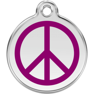 Red Dingo Peace Purple Tag - Lifetime Guarantee - Cat, Dog, Pet ID Tag Engraved