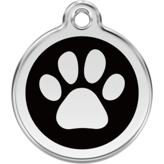 Red Dingo Enamel Paw Print Tag Black  - Lifetime Guarantee - Cat, Dog, Pet ID Tag Engraved