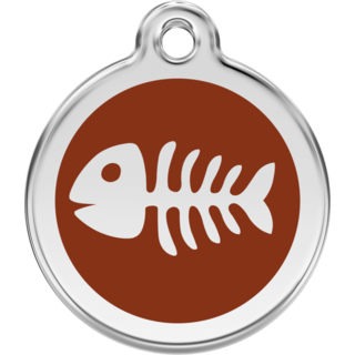 Red Dingo Enamel Fish Bone Tag - Brown  - Lifetime Guarantee - Cat, Dog, Pet ID Tag Engraved