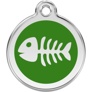 Red Dingo Enamel Fish Bone Tag - Green  - Lifetime Guarantee - Cat, Dog, Pet ID Tag Engraved