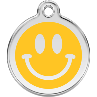 Red Dingo Dark Smiley Yellow Tag  - Lifetime Guarantee - Cat, Dog, Pet ID Tag Engraved
