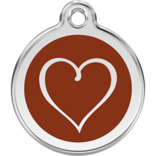 Red Dingo Enamel Tribal Heart Tag - Brown - Lifetime Guarantee - Cat, Dog, Pet ID Tag Engraved