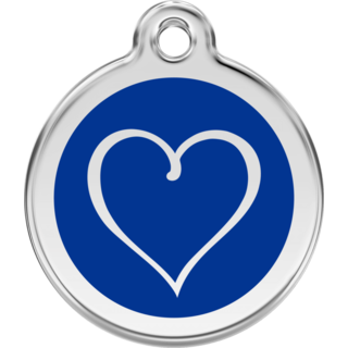 Red Dingo Enamel Tribal Heart Tag - Dark Blue - Lifetime Guarantee - Cat, Dog, Pet ID Tag Engraved