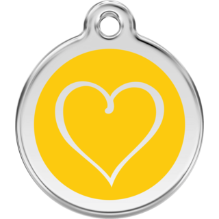 Red Dingo Enamel Tribal Heart Tag - Yellow - Lifetime Guarantee - Cat, Dog, Pet ID Tag Engraved