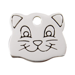 Red Dingo Stainless Steel Cat Face Tag  - Lifetime Guarantee - Cat, Dog, Pet ID Tag Engraved
