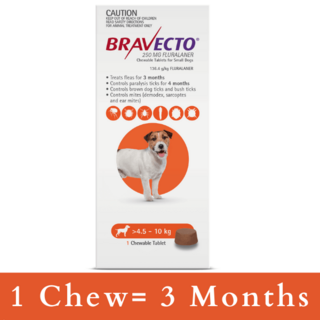 Bravecto CHEWABLE  Tablet for Small Dogs 4.5-10kg (Orange)