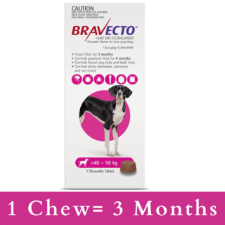 Bravecto CHEWABLE  Tablet for Extra Large Dogs 40-56kg (Pink)