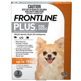 Frontline Plus for Small Dogs Up to 10kg (Orange)[Size:12 Pack]