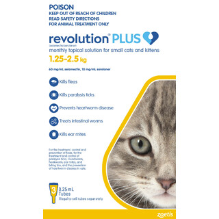 Revolution Plus for Small Cats & Kittens 1.25kg - 2.5kg (YELLOW)
