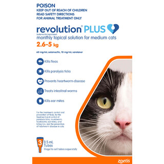 Revolution Plus for Medium Cats 2.6kg - 5kg (ORANGE)