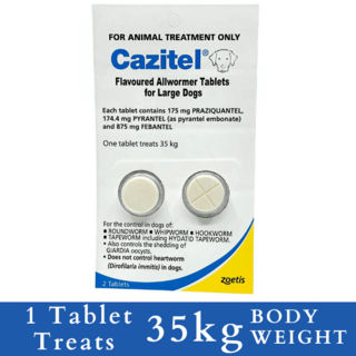 Cazitel Flavoured Allwormer Tablets for Dogs - 35kg (42 Tablets)