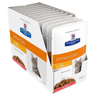 Hills  Feline Prescription Diet C/D Multicare Salmon Cat food pouches 12 x 85g