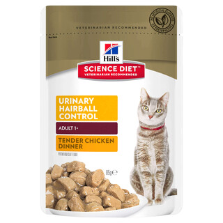 Hills Feline Science Diet - Adult Urinary Hairball Control Chicken Cat Food pouches - 12 x 85g