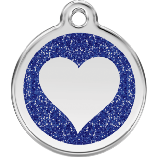 Red Dingo Glitter Blue Heart Tag  - Lifetime Guarantee - Cat, Dog, Pet ID Tag Engraved