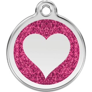 Red Dingo Glitter Hot Pink Heart Tag  - Lifetime Guarantee - Cat, Dog, Pet ID Tag Engraved