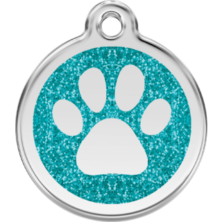 Red Dingo Glitter Paw Print Tag Aqua  - Lifetime Guarantee - Cat, Dog, Pet ID Tag Engraved