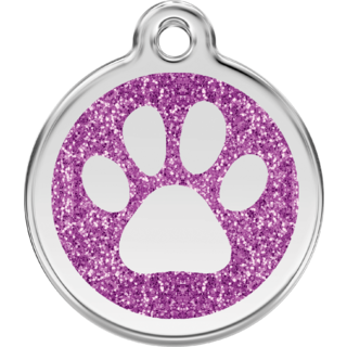 Red Dingo Glitter Paw Print Tag Purple  - Lifetime Guarantee - Cat, Dog, Pet ID Tag Engraved