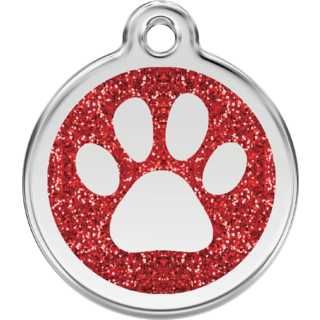 Red Dingo Glitter Paw Print Tag Red  - Lifetime Guarantee - Cat, Dog, Pet ID Tag Engraved